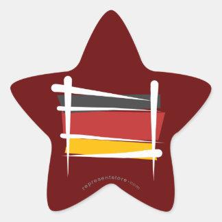 Germany Brush Flag Star Sticker