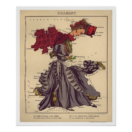 Germany Caricature Map 1868 Poster