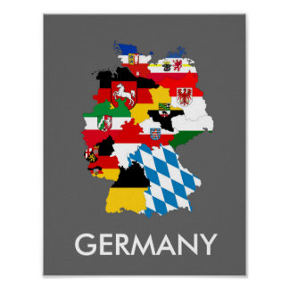 germany country regions flag map provnice symbol poster
