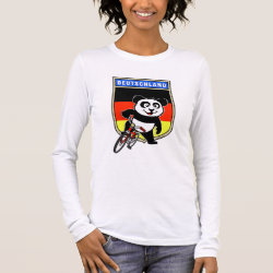 Women's Basic Long Sleeve T-Shirt with German Cycling Panda design