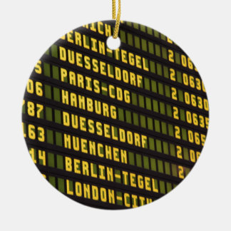 Germany Departure Board Double-Sided Ceramic Round Christmas Ornament