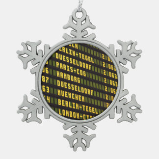 Germany Departure Board Snowflake Pewter Christmas Ornament