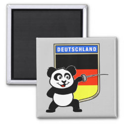 Square Magnet with German Fencing Panda design