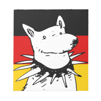germany flag and white dog with spike collar notepad