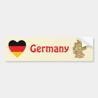 Germany Flag Heart + Map Bumper Sticker