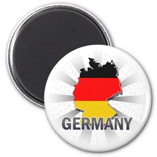 Germany Flag Map 2.0 2 Inch Round Magnet