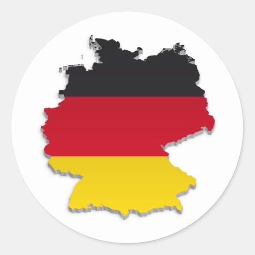 Germany Flag Map_2 Round Sticker