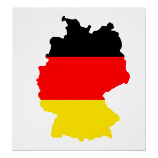 Germany Flag Map full size Poster