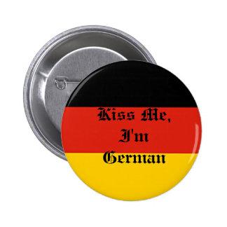 Germany_flag, me besa, yo es alemán pin redondo de 2 pulgadas