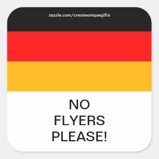 Germany Flag No Flyers Please Mail Box Sticker