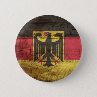 Germany Flag on Old Wood Grain Button