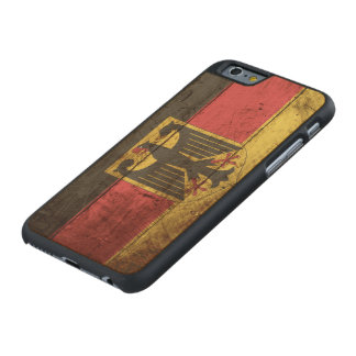 Germany Flag on Old Wood Grain Carved Maple iPhone 6 Slim Case