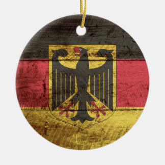 Germany Flag on Old Wood Grain Ceramic Ornament