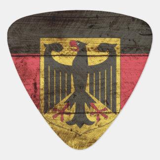 Germany Flag on Old Wood Grain Guitar Pick
