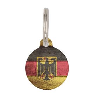 Germany Flag on Old Wood Grain Pet ID Tag