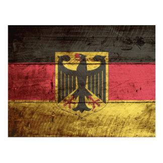 Germany Flag on Old Wood Grain Postcard