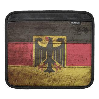 Germany Flag on Old Wood Grain Sleeve For iPads