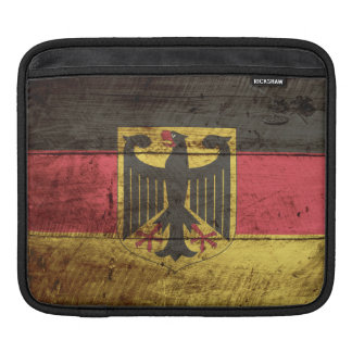 Germany Flag on Old Wood Grain Sleeves For iPads