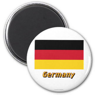 Germany Flag with Name 2 Inch Round Magnet