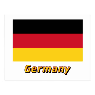 Germany Flag with Name Postcard