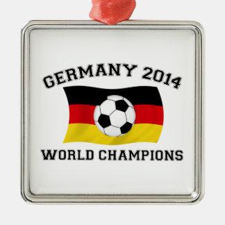 Germany Football Champions 2014 Square Metal Christmas Ornament