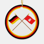 Germany & Hamburg Crossed Flags Double-Sided Ceramic Round Christmas Ornament