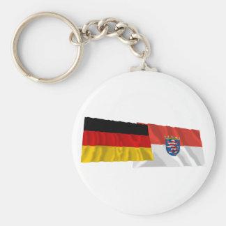 Germany & Hessen Waving Flags Key Chains