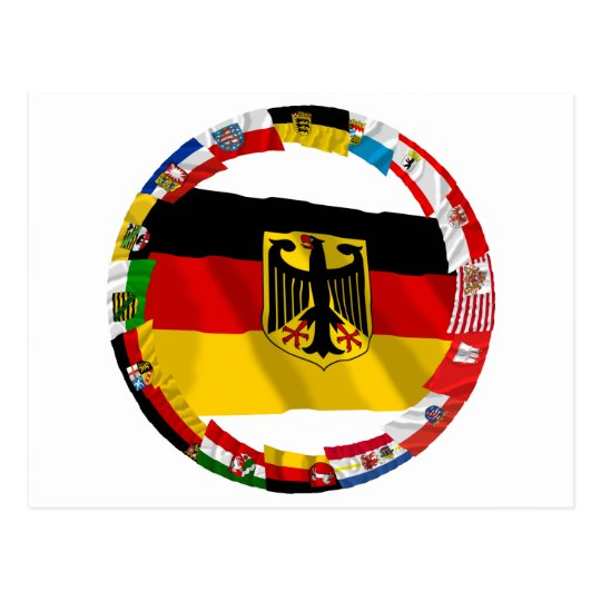 Germany & its Laender Waving Flags Postcard