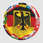 Germany & its Laender Waving Flags Round Stickers