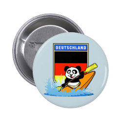 Round Button with German Kayaking Panda design