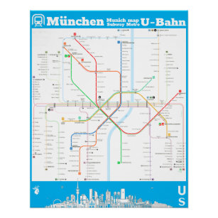 Munich Subway Map.Germany Munich Underground Subwaymap Poster