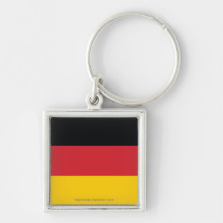 Germany Plain Flag Silver-Colored Square Keychain