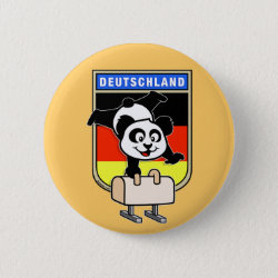 Round Button with German Pommel Horse Panda design
