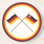 Germany & Rheinland-Pfalz Crossed Flags Coasters