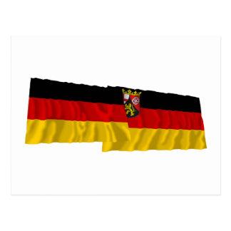 Germany & Rheinland-Pfalz Waving Flags Postcard