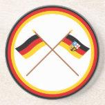 Germany & Saarland Crossed Flags Drink Coaster