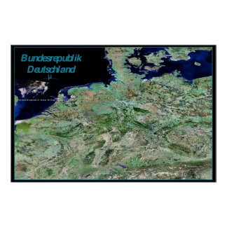 Germany satellite poster print map photograph