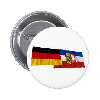 Germany & Schleswig-Holstein Waving Flags 2 Inch Round Button