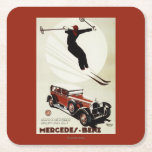 Germany - Skier Jumping Square Paper Coaster