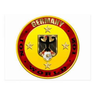 Germany Soccer Eagle Four Stars Champions 2014 Postcard