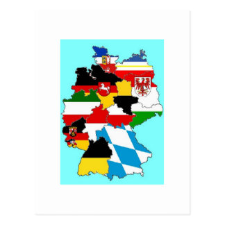 Germany State Flags Map Postcard