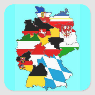 Germany State Flags Map Square Sticker