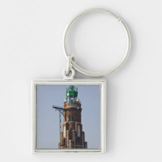 Germany, State of Bremen, Bremerhaven. Harbor Silver-Colored Square Keychain