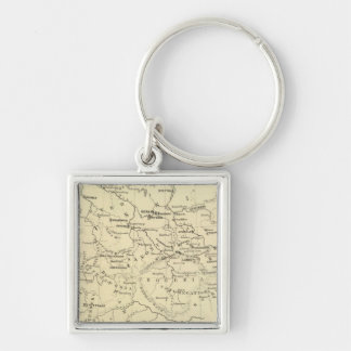 Germany, Switzerland, Holland Silver-Colored Square Keychain