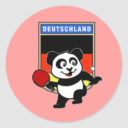Round Sticker with German Table Tennis Panda design