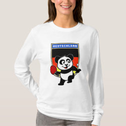 Women's Basic Long Sleeve T-Shirt with German Table Tennis Panda design