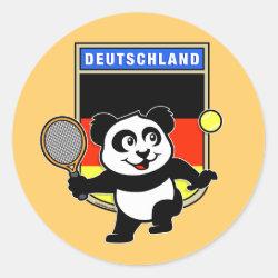 Round Sticker with German Tennis Panda design