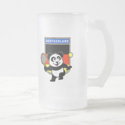 Frosted Glass Mug with German Tennis Panda design