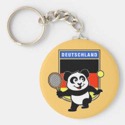 Basic Button Keychain with German Tennis Panda design