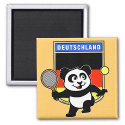 Square Magnet with German Tennis Panda design